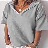 ljradj banxiu Beiläufige Frauen Normallack-Buchstabe-Druck-mit Kapuze kurzes Hülsen-T-Shirt 7-Grau...
