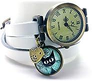 """montre bracelet en cuir blanc,""""Le chaton aux pois"""", montre 3 tours de poignet, montre breloques et c"""