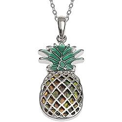 """'paraíso Tropical """"encontrar piña colgante ~ con incrustaciones natural Abalone Paua Shell ~ bañado en plata collar ~ joyas para niñas Mujeres Unisex en caja de regalo"""