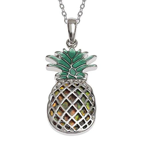 'Tropisches Paradies' kräftigen Ananas Anhänger ~ eingelegten Abalone Paua Muschel mit natürlichen ~, versilberte Halskette ~ Schmuck für Mädchen Damen Unisex Geschenk Box