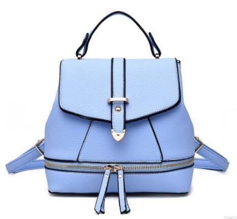 HQYSS Borse donna PU cuoio Casual Female Student magnetici automatici zaino tracolla Messenger Handbag , white days blue