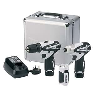 Makita LCT303W Pack de 3 machines Perceuse/Visseuse + Visseuse à chocs + Lampe 10,8 V 1,3Ah Gris