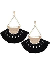 Satyam Kraft Boho Gypsy Gold Plated Tassel Earrings for Women (Black)