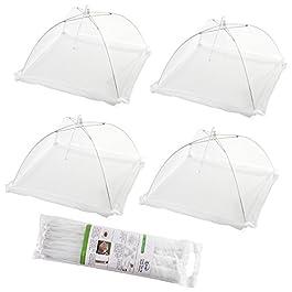 (Set di 4) Tende da copertura per alimenti popolari a schermo piatto pop-up – Tenere fuori mosche, bug, zanzare – riutilizzabili
