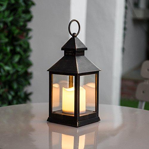 Exterior/Interior flackernde Farol con vela LED, funciona con pilas, 24cm, de Festive Lights
