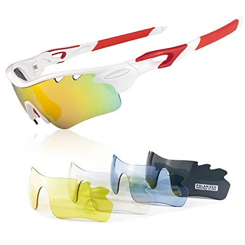JBeard Occhiali Sportivi Polarizzati Ciclismo Anti Vento Antifog Protezione Contro UV 400 Occhiali Bici MTB con 5 Lenti Intercambiabili - Kit di Occhiali per Corsa e Bicicletta da Uomo e Donna Bianchi