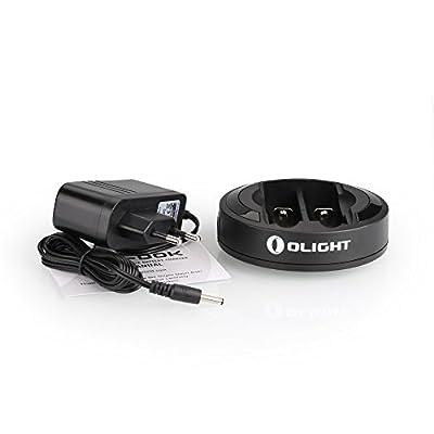Olight® 18650 14500 Lithium Ionen Akkus geschützt Batterien wiederaufladbar für Taschenlampe usw. - 2er Pack (3600mAh, 3400mAh, 3200mAh, 2600mAh und 750mAh Kapazität Original verfügbar) + Omni Dok 18650 16340 14500 Akkus Ladegerät (Universal)