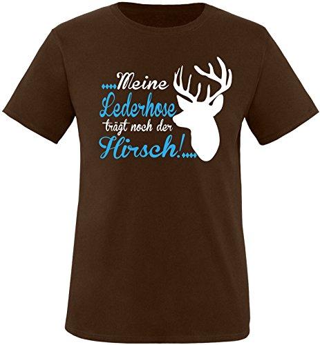 Luckja Meine Lederhose trägt noch der Hirsch Herren Rundhals T-Shirt Braun/Hellbl/Weiss