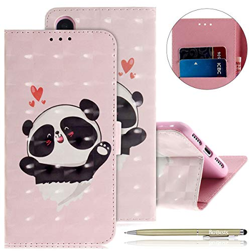 Kompatibel mit Lederhülle Huawei P20 Bunt Ledertasche Handytasche Flip Case Retro Luxus Glitzer Bling Glänzend Leder Hülle Handy Schutzhülle Klapphülle Handyhülle,Niedlich Panda