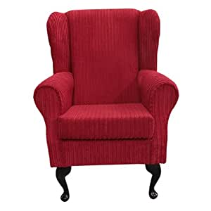 Small Westoe Wingback Armchair in a Jumbo Cord Rouge Red Luxury Velvet Fabric