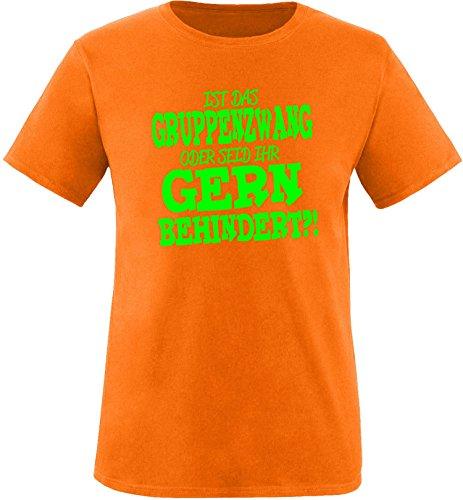 EZYshirt® Ist das Gruppenzwang oder seid ihr gern behindert Herren Rundhals T-Shirt Orange/Neongrün