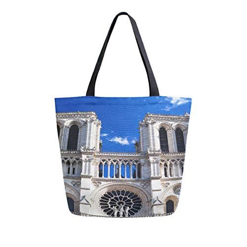 Warme Saubere Notre Dame De Paris Tragbare Große Doppelseitige Casual Leinwand Tragetaschen Handtasche Schulter Wiederverwendbare Einkaufstaschen Reisetasche Frauen Männer Lebensmittelgeschäft Reise - Kathedrale Türen
