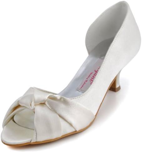 ElegantPark 1201D Mujer Mini tacón Fiesta Zapatillas Peep Toe Nudo Satén Nupcial Zapatos De Boda