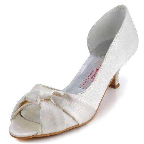 ElegantPark 1201D Donna Tacco Basso Partito Pompe Peep Toe Nodo Satin Scarpe Da Sposa Bianco