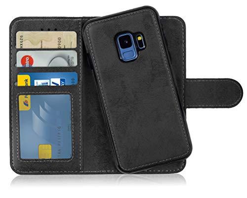 MyGadget Flip Case mit Back Cover [2 in 1] Hülle für Samsung Galaxy S9 - Magnetische PU Leder Klapphülle mit Kartenfach Schutzhülle Wallet - Schwarz (Für Samsung Case Handy 2)