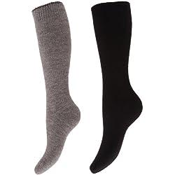 Floso- Calcetines de invierno térmicos para botas de agua para mujer (2 pares) (EUR 37-41/Gris/Negro)