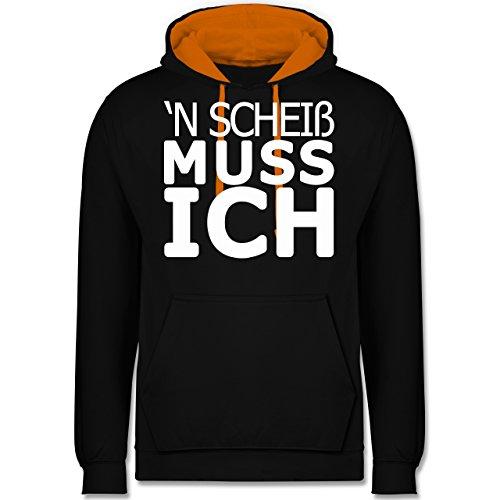 Statement Shirts - 'N Scheiß muss ich - Kontrast Hoodie Schwarz/Orange