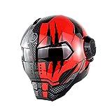 XBTECH Offroad Helm Motorrad Helm/Persönlichkeit Harley Full Face Helm Iron Man Flip Offene Maske Helm/Retro Style Transformers Helm,Brighttimeclaws,XL