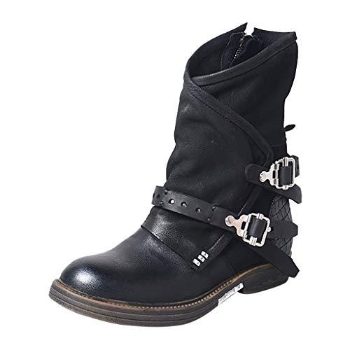 Stiefeletten Damen Leder Niedriger Absatz Elegant Stiefel Frauen Kurzschaft Vintage Reißverschluss Boots