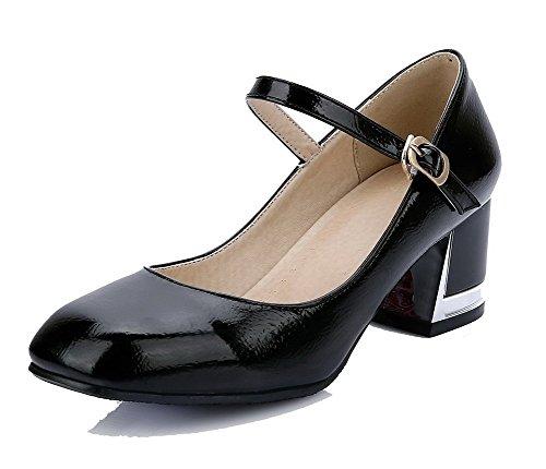 VogueZone009 Femme à Talon Correct Verni Couleur Unie Boucle Carré Chaussures Légeres Noir