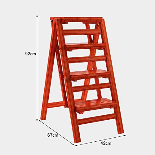 Shelves Duo Bücherregal 4 Stufenleiter-Hocker Multifunktions-Kletterleiter Holzleiter-Klapprufenhocker verdicken Kostenlose Installation Hängeregal, (Farbe : Weinrot)