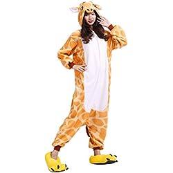 YUWELL Kigurumi Pijamas Unisex Adulto Anima Traje Disfraz Onesie Pyjamas, Jirafa L (Height:170-180cm)