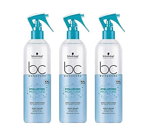 3x 400 ml Schwarzkopf Bonacure Hyaluronic Moisture Kick Spray Conditioner XXL