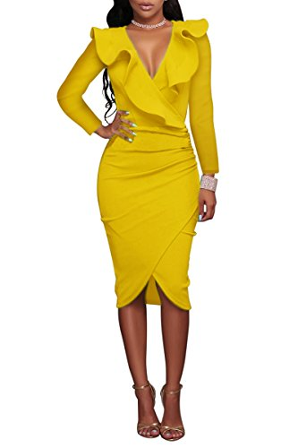 YMING Damen Midi Kleid Rüsche Kleid Tief V-Ausschnitt Partykleid Bodycon Stretchkleid,Gelb,XL/DE...