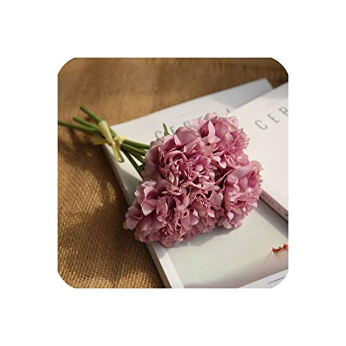 MMagma artificial-flowers Künstliche Blumen Pfingstrosen Bouquet Für Hochzeitsdekoration 5 Köpfe Pfingstrosen Kunstblumen Home Decor Silk Hydrangeas Günstige Blume Lila