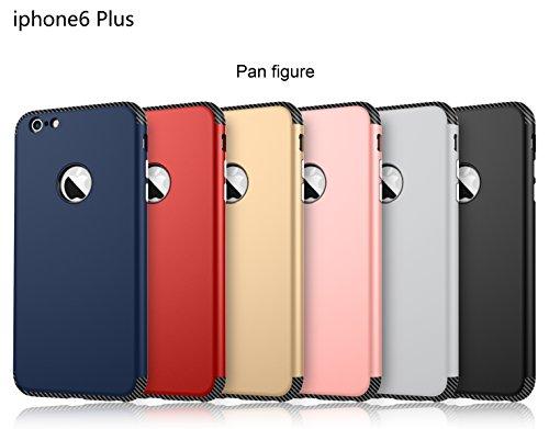 iPhone 6 Plus Hülle, Oceanhome 2 in 1 Hart PC + TPU Case Cover Klassik Sport Schutz Schutzhülle [Stoßdämpfung] Carbon Faser Ladekantenschutz Anti Sturz Smart Phone Case für Apple iPhone 6 Plus 5.5 Hül Marine