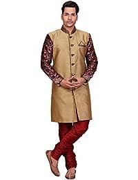 A.B.C. GarmentsGolden Sherwani With Maroon Printed Sleeve For Mens