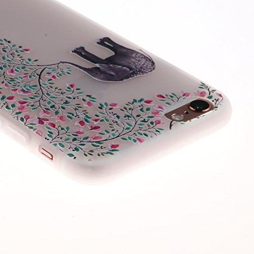iPhone 6 Plus/6S Plus Coque, Voguecase TPU avec Absorption de Choc, Etui Silicone Souple Transparent, Légère / Ajustement Parfait Coque Shell Housse Cover pour Apple iPhone 6 Plus/6S Plus 5.5 (Panda e Éléphant avec fleurs