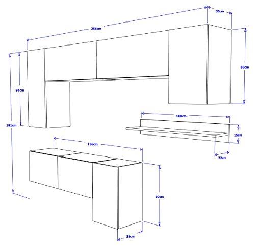 FUTURE 5 Moderne Wohnwand, Exklusive Mediamöbel, TV-Schrank, Neue Garnitur, Große Farbauswahl (RGB LED-Beleuchtung Verfügbar) (Weiß MAT base / Weiß HG front, Weiß LED) - 4