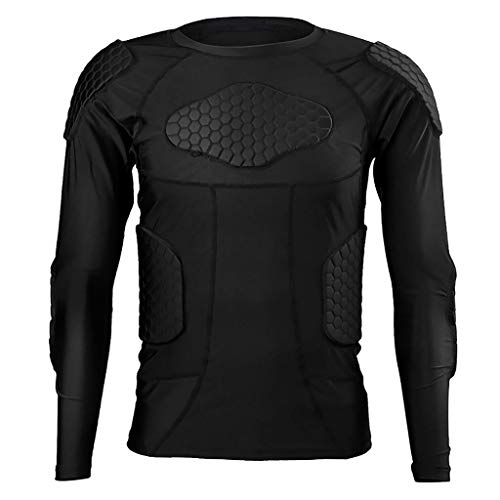 WHSPORT Männer Körper Safe Guard Padded Compression Langarm-Shirt mit Schutz for Rugby Football Basketball Paintball (Size : L)