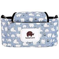 Cochecito de bebé Organizador bolsa de pañales con soporte para teléfono móvil - ajuste universal y cochecitos - White Bear