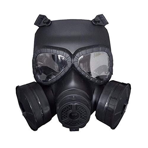 QICLT Masque à Gaz Masque intégral de respirateur Filtrant Anti-Chimique Anti-Pollution Nocives Vapeur, Masque de Protection Anti-Poussiere avec Double Soupapes de Facile à Respirer,Black