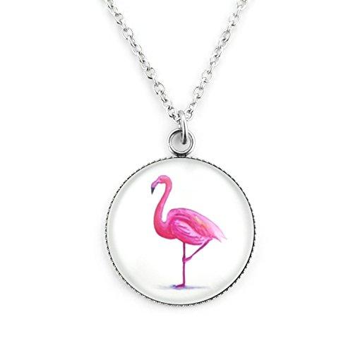 Groß Flamingo (SCHMUCKZUCKER Damen Kette großer Anhänger Motiv Flamingo Edelstahl Silber-Farben pink Weiss Flamingo - Kurze Kette (45cm))