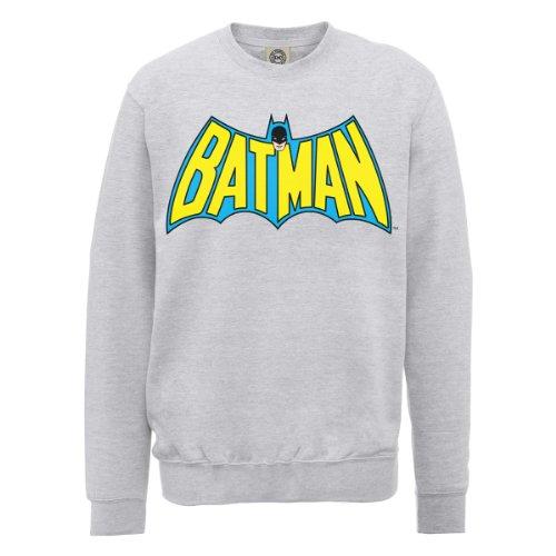 DC Comics Herren, Sweatshirt, DC0000586 Official Batman Retro Logo Grau - Erika-Grau