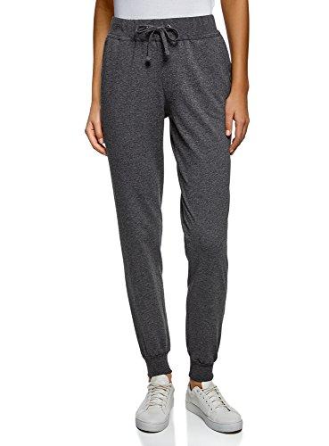 oodji Ultra Damen Jersey-Hose mit Bindebändern, Grau, 38cm / DE 42 / EU 44 / XL