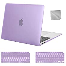 MOSISO MacBook Air 13 inch Case 2020 2019 2018 Release A2179 A1932, Plastic Hard Shell Case&Keyboard Cover&Wipe Cloth Compatible with MacBook Air 13 inch with Retina Display, Light Purple