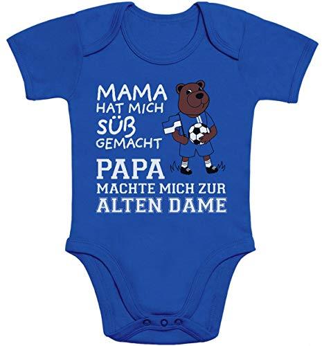 Shirtgeil Herthaner Fan Artikel - Papa machte Mich zur Alten Dame Baby Body Kurzarm-Body 50/56 (0-3M) Blau