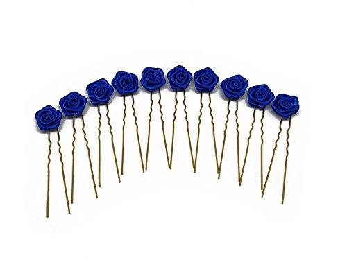 10 horquillas con rosas - Para zonas con el pelo estirado - Decoración para peinados de novia - Horquilla dorada - Azul