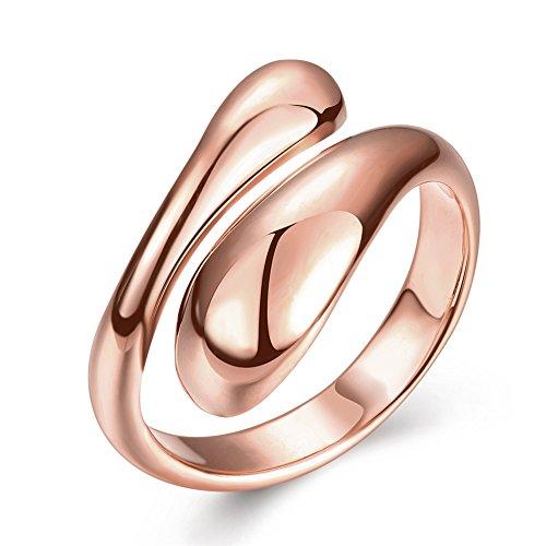 FJYOURIA Frauen Platin / Gold überzogene verstellbare Ringe Teardrop Daumen Fingerband Ring Damen reißen Wasser Drop Ringe Geschenk Ring UK Größe N1 / 2 US Größe 7 (18 Karat (750) (Ungewöhnlicher Kostüm Uk Schmuck)