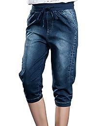 Sidiou Group Femme Élastique Taille Moyenne Lace Up Denim Harem Pants  Pantalon Capri Short en Jean Grande Taille… b23f14cff5a