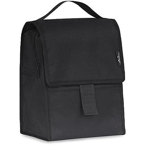 MoKo Bolsa Térmica - Portátil Lunch Bag para Llevar Comidas Almuerzo 10 Horas Congelable Plegable Múltiples Bolso del Almuerzo con Cremallera y Cierre de Velcro 360 Grados, Negro