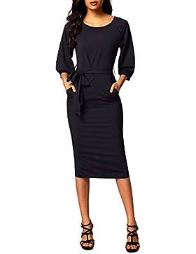 Aleumdr Mujer Vestido Tubo de Gasa Falda con Cinturón Vestido de Blusa Manga Corta Size S-XL