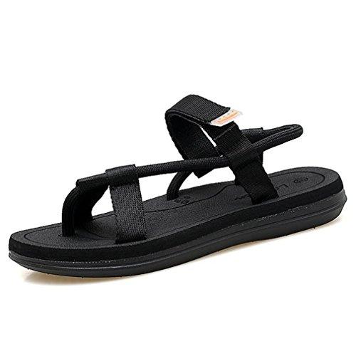 Danmen Strandschuhe Sandalan Weich Leichtgewicht Flache Übergröße Atmungsaktiv Klettverschluss Modische Schuhe Schwarz