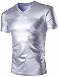 QIYUN.Z Camiseta Estampada con Cuello En Pico De Cuello Redondo De Manga Corta para Hombres