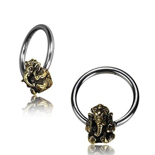 Universal Piercing Klemmkugel Ring silbern golden Brass Ganesha Septum Helix Tragus 1,6 mm