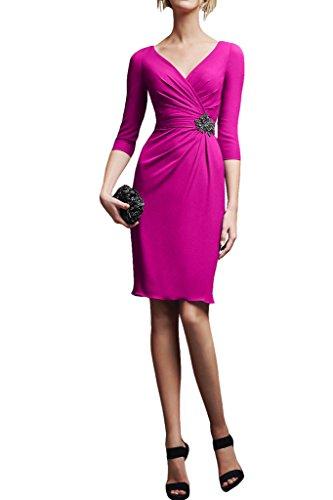 Missdressy Damen Cocktailkleid V-Ausschnitt Abendkleid Knielang Falte 4/3 Aereml Chiffon Pink